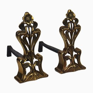 Art Nouveau Bronze Andirons, Set of 2