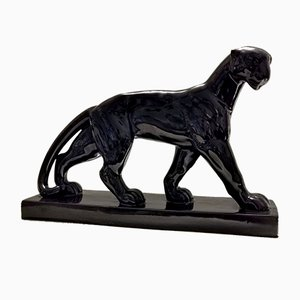 French Black Panther Ceramic Sculpture, 1930s