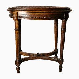 Antiker französischer Hocker aus Holz mit Wiener Sitzgeflecht