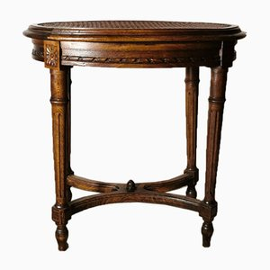 Antique French Wood and Vienna Straw Stool