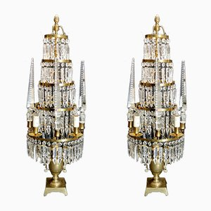 Antique French Bronze and Lead Crystal Girandoles Table Lamps, Set of 2