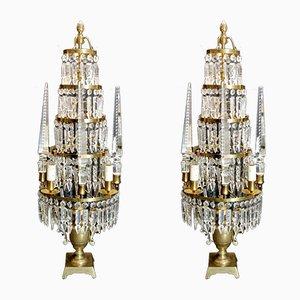 Lampes de Bureau Girandoles Antiques en Bronze et Cristal au Plomb, France, Set de 2