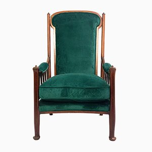 Art Nouveau English Green Velvet Armchair, 1930s