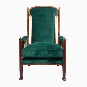 Butaca inglesa modernista de terciopelo verde, años 30