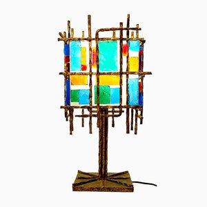 Lámpara de mesa brutalista, años 60