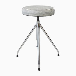 German Gray Chrome Swivel Stool, 1960s