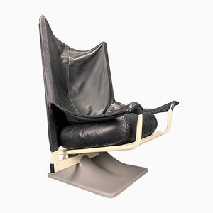 Vintage Model AEO Black Leather Lounge Chair by Paolo Deganello & Archizoom for Cassina