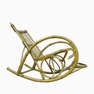 Rocking-Chair en Bambou, Italie, 1950s
