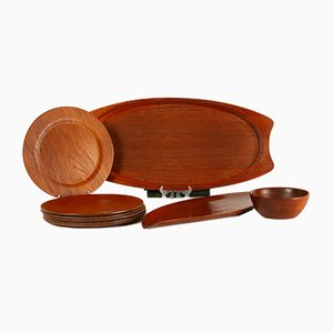 Danish Teak Tray, Plates, and Bowl by Johs Andersen, 1960s, Set of 9