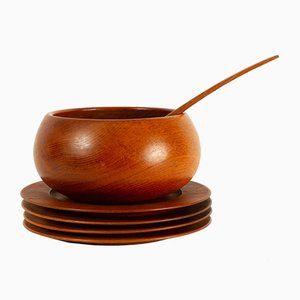 Danish Teak Plates and Bowl from Wiggers and Jens Quistgaard, 1960s, Set of 6