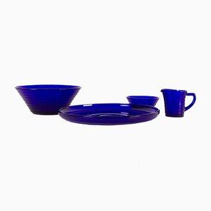 Vintage Danish Model Broksø Blue Glass Set by Jacob E. Bang for Holmegaard, Set of 4