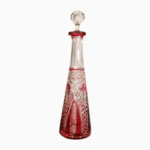 Antique French Clear and Red Hand-Cut Lead Crystal Bottle