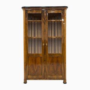Antique German Biedermeier Burr Walnut Veneered Display Cabinet
