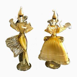 Figuras de cristal de Murano dorado de Bardini, años 60. Juego de 2
