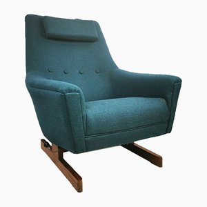 Mid-Century Danish Blue Teak Rocking Chair, 1960s