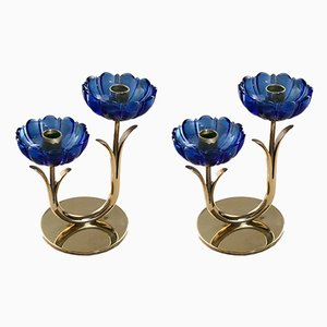 Brass and Blue Glass Candleholders by Gunnar Ander for Ystad-Metall, 1950s, Set of 2