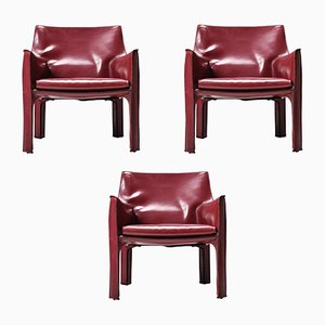 Model Cab 414 Lounge Chairs by Mario Bellini for Cassina, 1970s, Set of 3