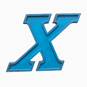 Vintage Blue Metal Letter