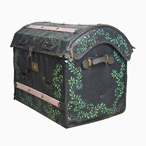 Antique Domed Canvas and Wicker Steamer Trunk
