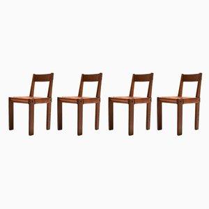 Modell S24 Esszimmerstühle aus Ulmenholz von Pierre Chapo, 1970er, 4er Set