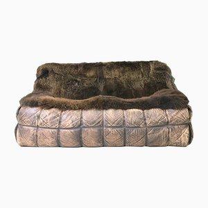 Sofá de dos plazas vintage de piel de oveja de Michel Ducaroy para Ligne Roset