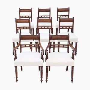 Antike georgianische Esszimmerstühle aus Mahagoni, 8er Set