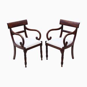 Antike Regency Schreibtischstühle aus Mahagoni, 2er Set