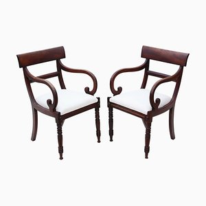 Antique Regency Mahogany Desk Chairs, Set of 2