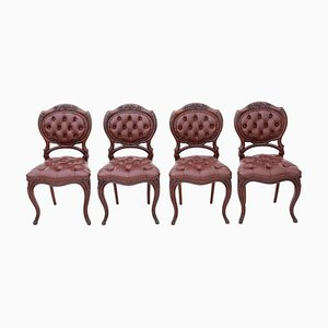 Antique Victorian Mahogany and Leather Dining Chairs, Set of 4