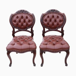 Antique Victorian Mahogany Side Chairs, Set of 2