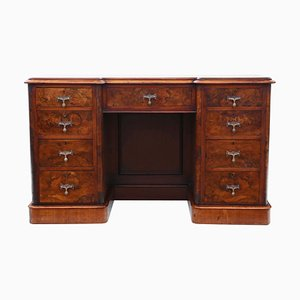 Bureau Victorien Antique en Loupe de Noyer