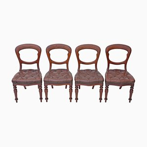 Antique Victorian Mahogany and Leather Balloon Back Dining Chairs, Set of 4
