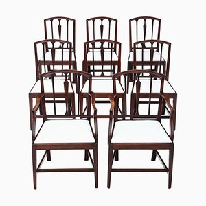 Antique Georgian Mahogany Dining Chairs, Set of 8