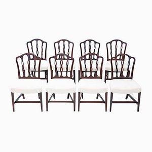 Antique Georgian Mahogany Dining Chairs, Set of 8