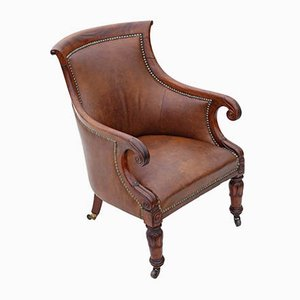 Antique Regency Mahogany and Leather Library Armchair