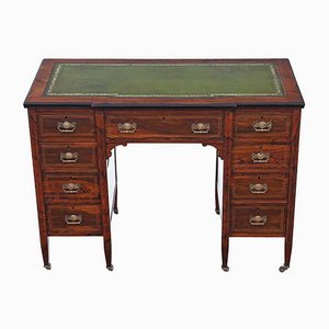 Small Antique Victorian Inlaid Rosewood Twin Pedestal Desk