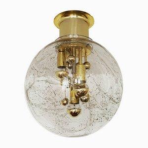 Große deutsche Deckenlampe aus Messing & Glas von Doria Leuchten, 1960er
