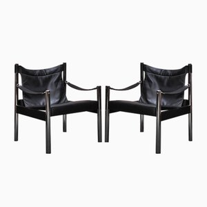 Mid-Century Safari Leather Lounge Chairs by Johanson Design, Set of 2
