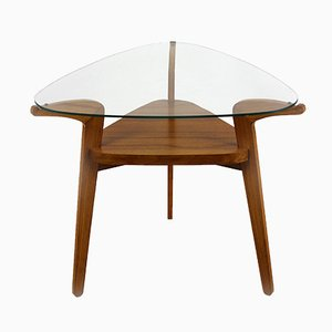 Mesa de centro checa con superficie de vidrio de Jitona, años 60
