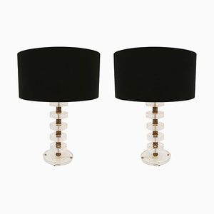 Italian Murano Glass and Brass Table Lamps, 1970s, Set of 2