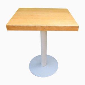 Metal and Oak Pedestal Table, 1980s