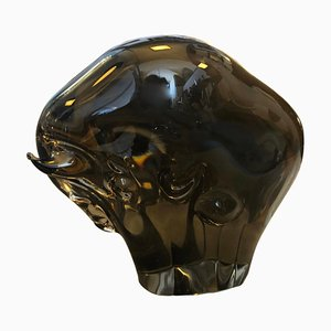Mid-Century Brown Murano Glass Bull from Seguso, 1970s