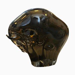 Toro Mid-Century de cristal de Murano marrón de Seguso, años 70
