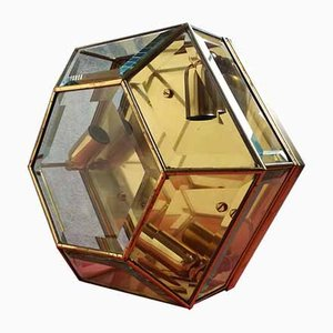 Hexagonal Brass and Glass Sconce, 1950s