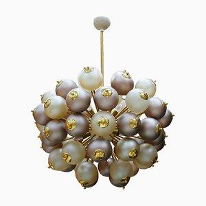 Mid-Century Modern Style Mod, Sputnik Brass and Glass Italian Ceiling Lamp