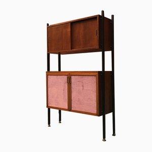 Libreria in teak, metallo e velluto, anni '60
