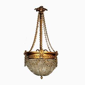 Antike Deckenlampe aus Kristallglas und Messing im Empire Stil
