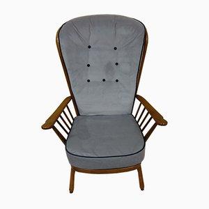 Gray Velvet Armchair by Lucian Ercolani for Ercol, 1980s