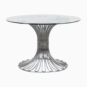Space Age Glass and Chrome Dining Table, 1970s