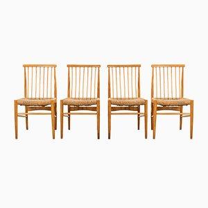 Vintage Esszimmerstühle aus Rattan, 1960er, 4er Set